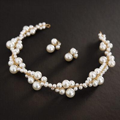 Beautiful Alloy/Imitation Pearls Headbands (Set of 2)