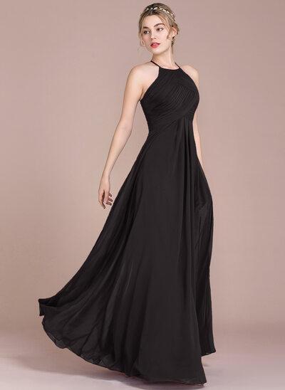 A-Line/Princess Scoop Neck Floor-Length Chiffon Evening Dress With Ruffle