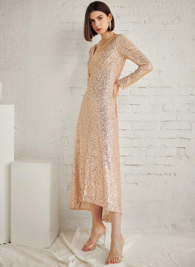 A-Line V-neck Ankle-Length Evening Dress