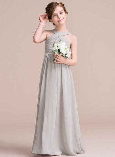 A-Line Floor-length Flower Girl Dress - Chiffon Sleeveless V-neck With Bow(s)
