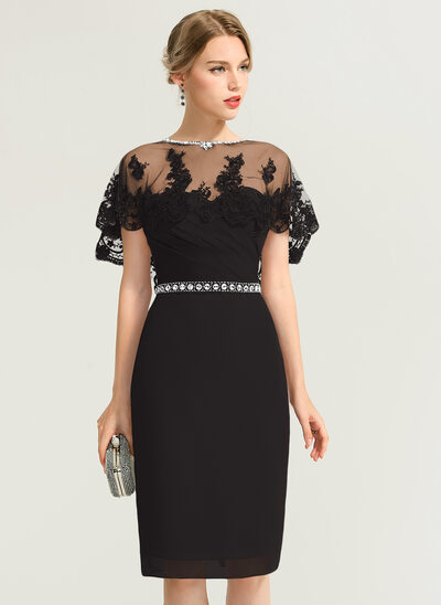 Sheath/Column Sweetheart Knee-Length Chiffon Cocktail Dress With Ruffle Beading