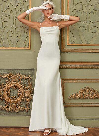 Trumpet/Mermaid Cowl Neck Sweep Train Satin Wedding Dress