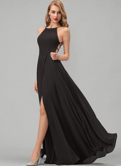 A-Line Scoop Neck Floor-Length Chiffon Evening Dress With Split Front