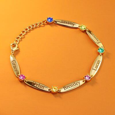 Navn armbånd Birthstone armbånd med barnas navn fødselsstein -