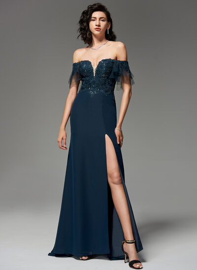 Trumpet/Mermaid Off-the-Shoulder Sweep Train Chiffon Lace Evening Dress With Sequins