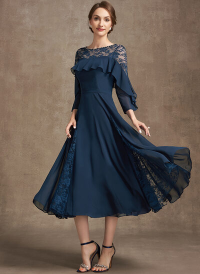 A-Line Scoop Neck Tea-Length Chiffon Lace Evening Dress With Beading Cascading Ruffles
