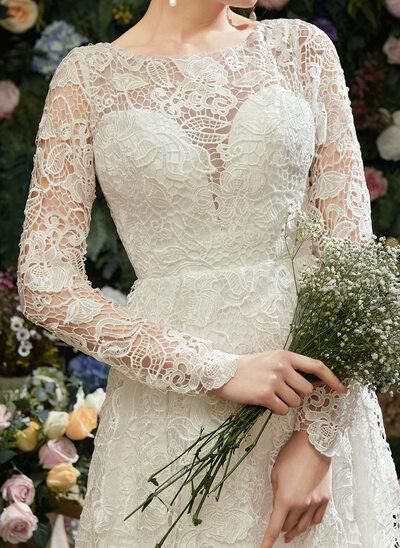 A-Line Illusion Asymmetrical Wedding Dress