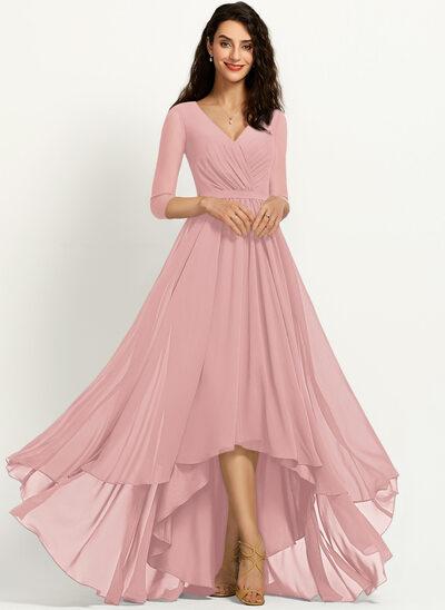 A-Line V-neck Asymmetrical Bridesmaid Dress With Pleated