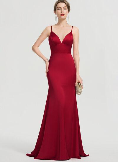 Trumpet/Mermaid V-neck Sweep Train Satin Prom Dresses