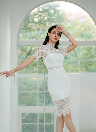 Sheath/Column Knee-Length Wedding Dress