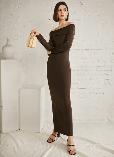 Sheath/Column Off-the-Shoulder Ankle-Length Evening Dress