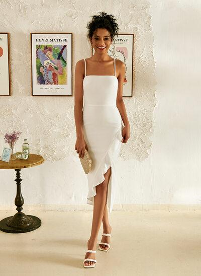 Square Neckline Asymmetrical Wedding Dress With Ruffle