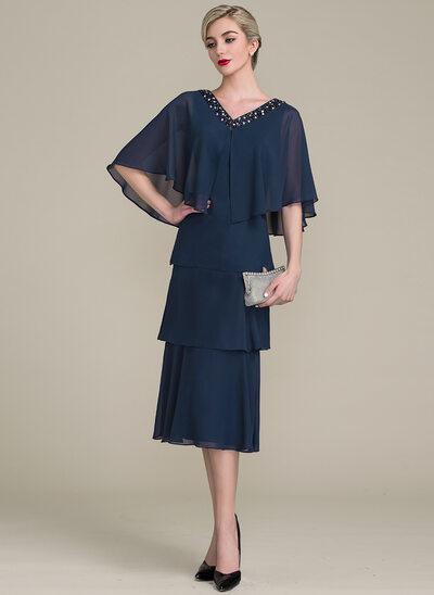 A-Line/Princess V-neck Tea-Length Chiffon Mother of the Bride Dress With Cascading Ruffles