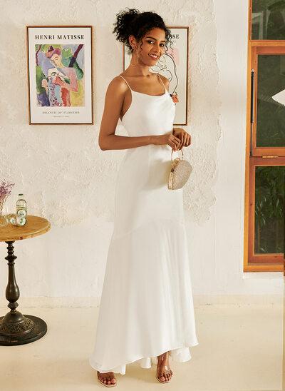 Cowl Neck Asymmetrical Wedding Dress