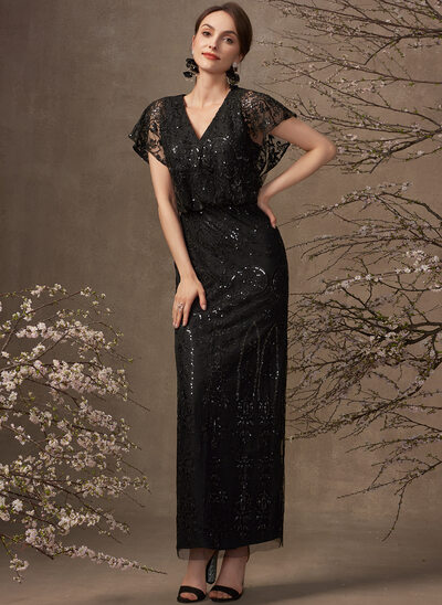 Sheath/Column V-neck Ankle-Length Lace Mother of the Bride Dress With Sequins