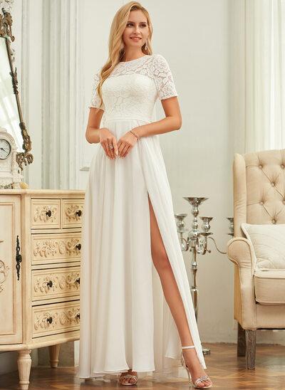 A-Line Scoop Neck Floor-Length Chiffon Lace Wedding Dress