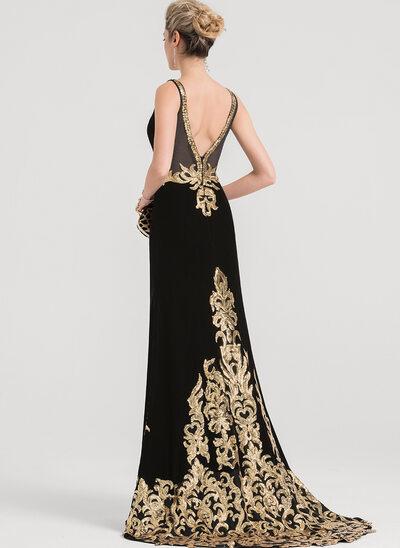 Trumpet/Mermaid V-neck Sweep Train Velvet Evening Dress With Sequins