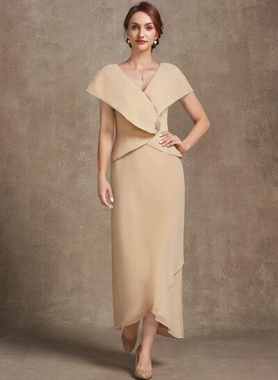 A-Line V-neck Asymmetrical Chiffon Evening Dress With Beading Sequins