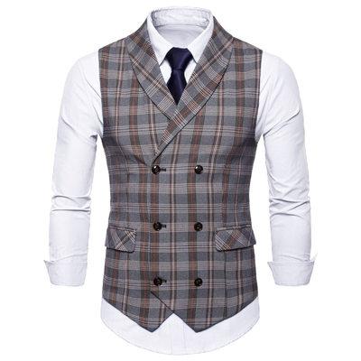 Plaid linen Men's Vest