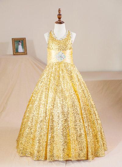 Ball Gown Floor-length Flower Girl Dress - Sequined Sleeveless Halter With Beading (Petticoat NOT included)