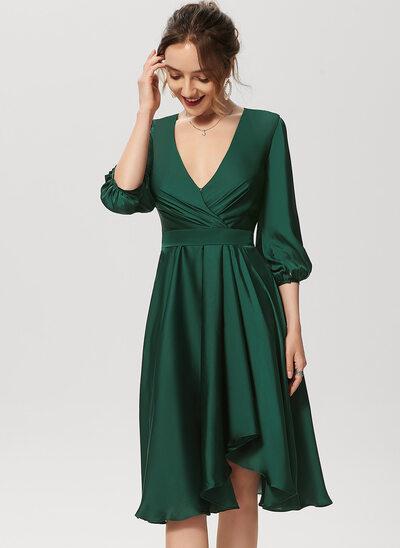 A-Line V-neck Asymmetrical Satin Chiffon Cocktail Dress