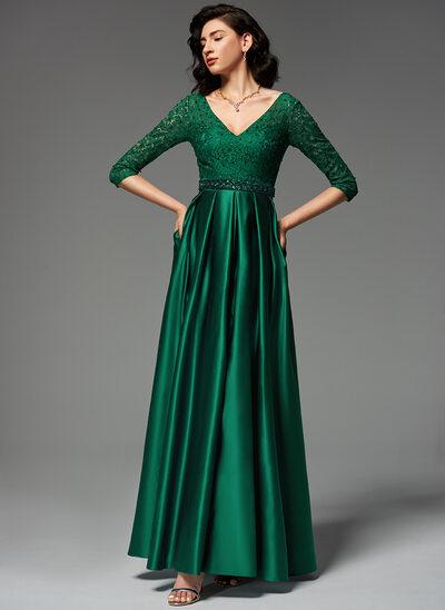 A-Line V-neck Floor-Length Satin Evening Dress With Beading Sequins Split Front Pockets