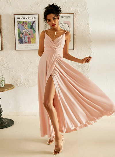 A-Line V-neck Floor-Length Prom Dresses