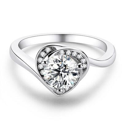 Hjerte Round Cut 925 sølv Forlovelsesringer