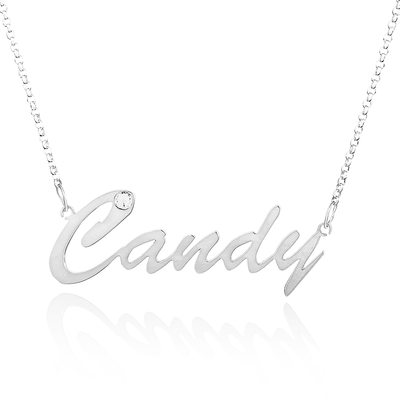 Custom Sterling Silver Name Necklace With Diamond - Birthday Gifts Mother's Day Gifts