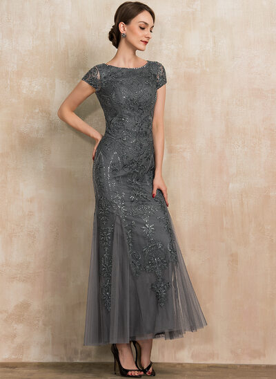 Trumpet/Mermaid Scoop Neck Ankle-Length Tulle Lace Sequined Mother of the Bride Dress With Beading Sequins