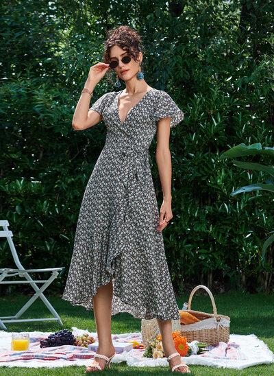 A-Line V-neck Asymmetrical Cocktail Dress