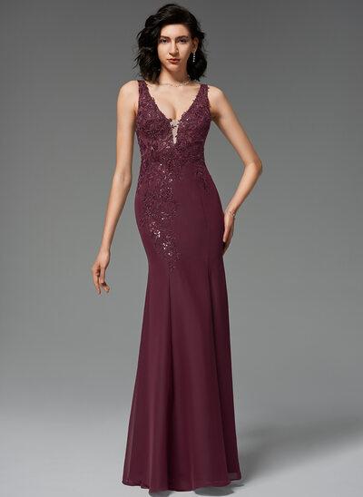 Trumpet/Mermaid V-neck Floor-Length Chiffon Evening Dress With Sequins