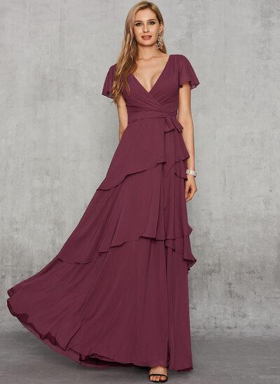 A-Line V-neck Floor-Length Chiffon Evening Dress With Sash