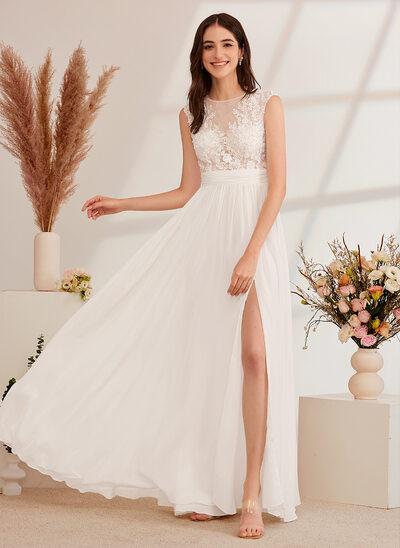 [Gratis Frakt]A-Formet Illusjon Gulvlengde Brudekjole med Profilering Splittet Front