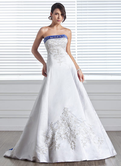 Ball-Gown Strapless Court Train Satin Wedding Dress With Embroidered Sash Beading