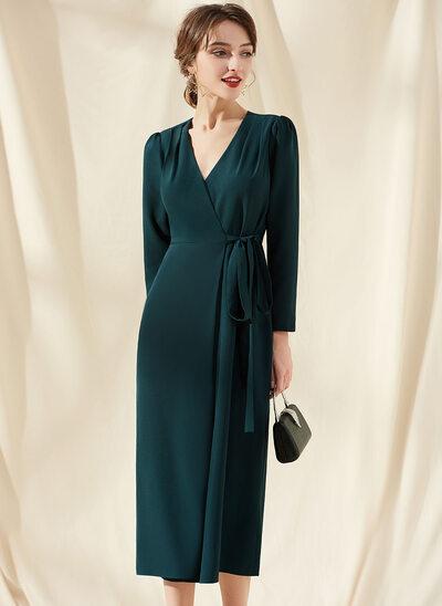 Sheath/Column V-neck Tea-Length Stretch Crepe Cocktail Dress With Ruffle