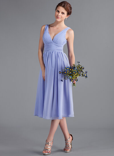 A-Line/Princess V-neck Tea-Length Chiffon Bridesmaid Dress With Ruffle