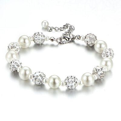 Ladies' Stylish Rhinestones/Imitation Pearls Bracelets