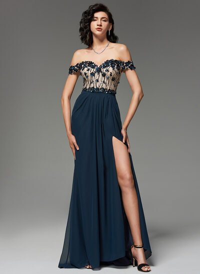 A-Line Off-the-Shoulder Sweep Train Chiffon Evening Dress With Beading Sequins