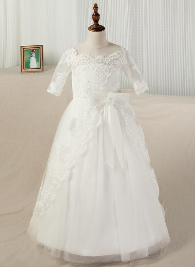 A-Line Floor-length Pageant Dresses - Satin/Lace 1/2 Sleeves Off-the-Shoulder With Appliques