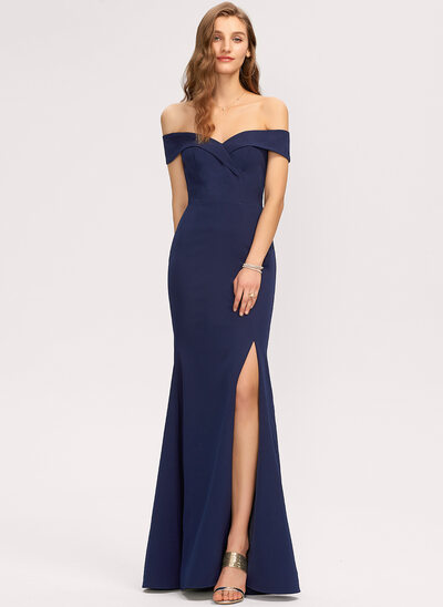 Trumpet/Mermaid Off-the-Shoulder Floor-Length Stretch Crepe Evening Dress With Split Front
