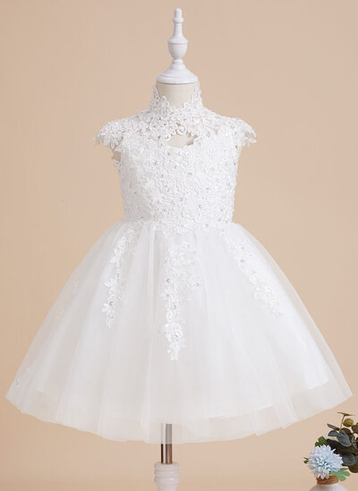 A-Line Knee-length Flower Girl Dress - Tulle/Lace Sleeveless High Neck With Beading/Sequins/Back Hole