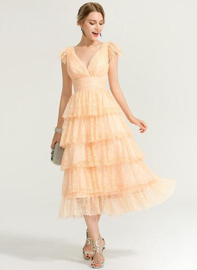A-Line V-neck Tea-Length Lace Wedding Dress