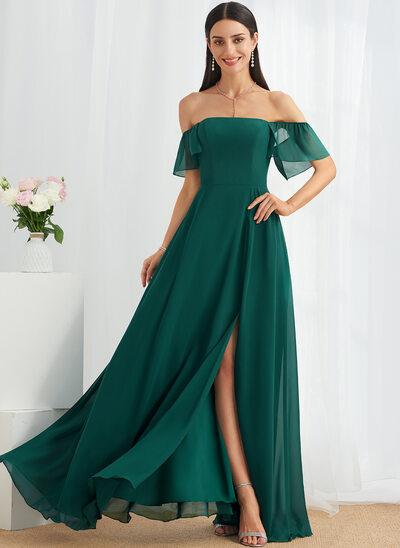 A-Line Off-the-Shoulder Floor-Length Bridesmaid Dress With Split Front