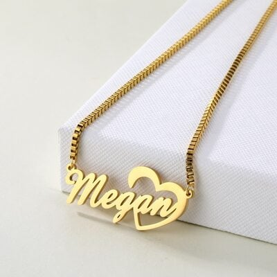 Custom 18k Gold Plated Heart Name Necklace With Heart -