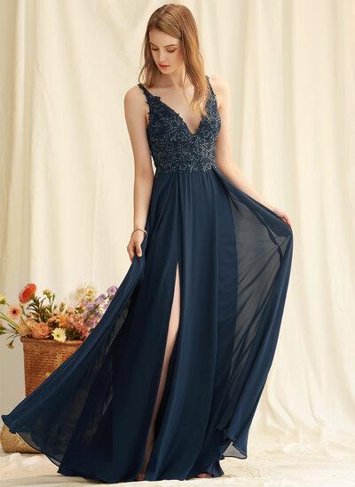 A-Line V-neck Floor-Length Chiffon Bridesmaid Dress With Lace Sequins Split Front
