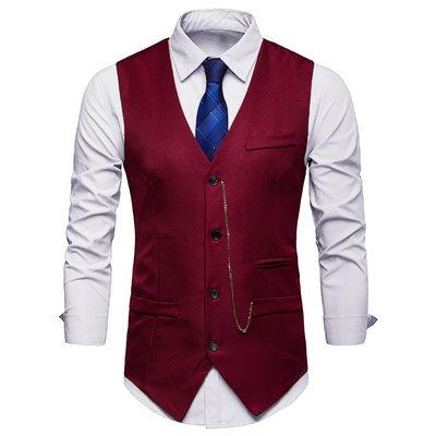 Solid Color Polyester Viscose Men's Vest