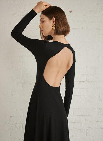 A-Line Scoop Neck Tea-Length Evening Dress