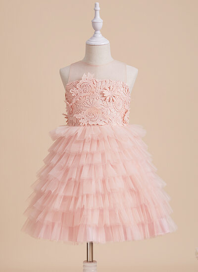 Ball-Gown/Princess Knee-length Flower Girl Dress - Tulle/Lace Sleeveless Scoop Neck