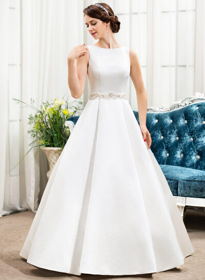 Ball-Gown Scoop Neck Floor-Length Satin Wedding Dress With Beading Sequins